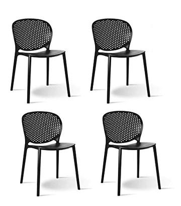 Meubletmoi Lot de 4 chaises Noires empilables - Design Moderne - Robustes et légères – BILY Noir