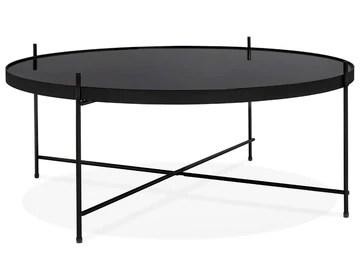 PEGANE Table Basse Simple en métal et Verre trempé Coloris Noir - 83 x 83 x H.35 cm