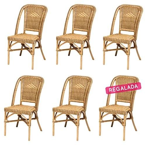 Lot de 6 chaises Selva Miel en Osier
