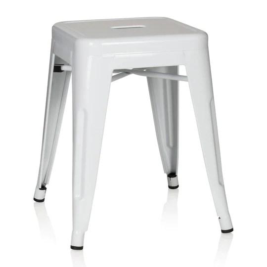 hjh OFFICE 645002 tabouret bistrot VANTAGGIO blanc métallique au look industriel et moderne, empilable