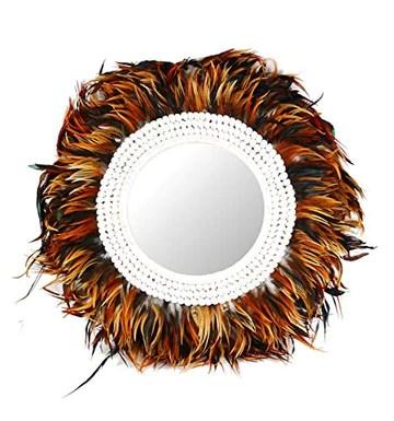 Coco Papaya Grand Miroir Juju Hat à Plumes et Coquillages Marron ø60cm