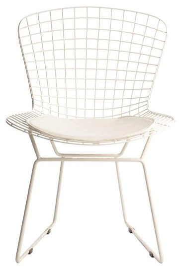 ElleDesign Chaise Bertoia Structure laquée Blanche Total White Coussin Blanc Wire Chair