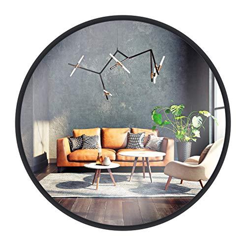 Miroir Mural Gold & Chrome, Rond, avec Cadre en Aluminium | Surface Miroir revêtue de téflon, résistante à l'humidité | Cadre de Miroir, 2 cm de Profondeur, Peint par poudrage, Montage Facile