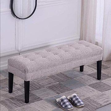 BXZ Chaise en tissu ottoman banc capitonné siège rembourré pieds en bois massif chaise tabouret,60 cm,60 cm