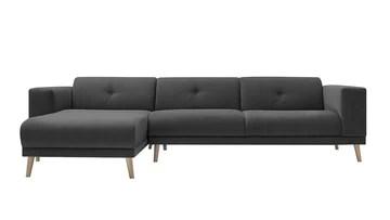 Bobochic LUNA Canapé d'Angle Gauche Fixe 3 places avec Pouf Gris Foncé, 308 x 166 x 75 cm