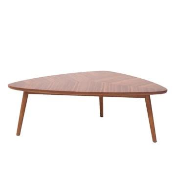 Marque Amazon - Rivet - Table basse triangulaire, en noyer et aux pieds en bois massif, 105 x 60 cm