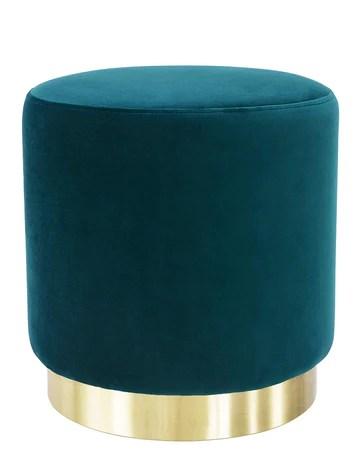 Suhu Pouf Tabouret Velours Coiffeuse Repose Pied Rond de Salon Design Chaise Moderne Siège Vintage Deco Bas en Métal Gold Vert