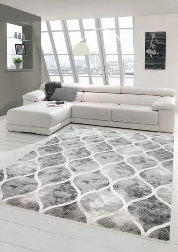 Mérinos Tapis Design en Laine Style marocain Gris crème Größe 160x230 cm