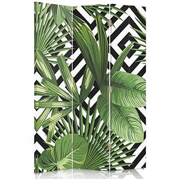 Feeby Frames Paravent déco Feuilles Impression 1 Face 3 Panneaux Vert 110x150 cm