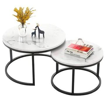 XWZJY Facile Table Basse empilable, Salon Tables gigognes Rondes, Ensemble de 2 Canapé Fin/Table d'appoint, Impression en marbre et Cadre en Acier, Facile à Nettoyer