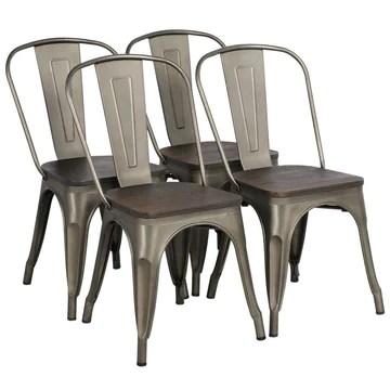 Yaheetech 4 x Chaise de Salle à Manger Industriel Empilable Tabouret de Cuisine Vintage en Fer/métal Assise en bois 36,5 x 36 x 45 cm pour Bar/Bistro/Café
