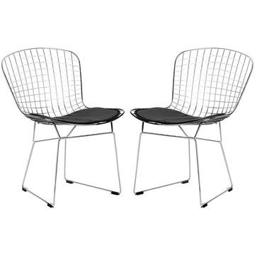 Chaise De Salle à Manger En Fer Moderne, Chaise Creuse, Fauteuil Décoration De Maison Moderne Avec Chaise En Café, (ensemble De 2),Noir