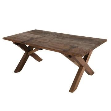 Table Basse 110X60Cm en Bois Recyclé Pieds Croisés - Esprit Brocante