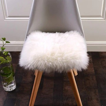 QINGLOU Peau de Mouton synthétique,Cozy Sensation comme véritable Laine Tapis en Fourrure synthétique, Fluffy Soft Longhair Décoratif Coussin de Chaise Canapé Natte (Blanc(Carré), 45 x 45cm)
