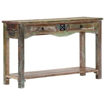 Tidyard Table Console | Table d'entrée Industriel 120x40x75 cm en Bois Solide de Récupération