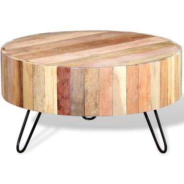 vidaXL Table Basse Bois de Récupération Massif Table d'Appoint Salon Canapé