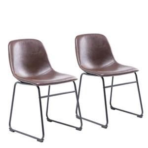 RFIVER Chaise de Salle à Manger de Style Vintage Confortable avec Siège en Cuir PU et Base en Métal Robuste pour Cuisine Salon Lot de 2 Brun BS1003