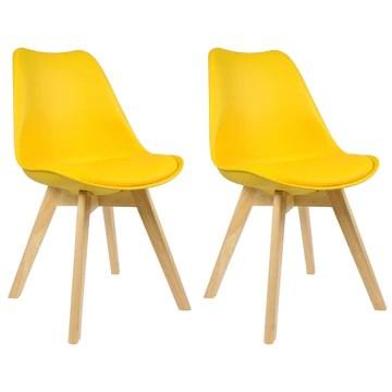 WOLTU 2 Chaises de Salle à Manger Cuisine/Salon chaises,Design en Similicuir et Bois Massif,Jaune BH29gb-2