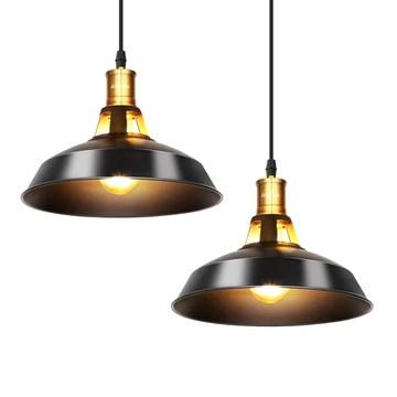 Albrillo Lot de 2 Suspension Luminaire Industrielle, Plafonnier Rétro en Noir Classique
