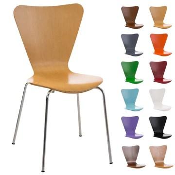 CLP Chaise Empilable Calisto en Bois - Assise Ergonomique - Chaise de Salle d'Attente en Bois Chaise, Hauteur Assise 45 cm -Couleurs au Choix: Nature