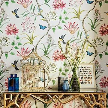 Blooming Wall Papier peint en tissu non-tissé moderne pour salon, chambre à coucher, cuisine, 244 m² Vert