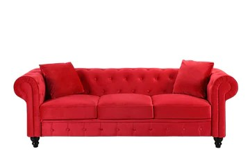 BHDesign Mila - Canapé Chesterfield 3 Places - Velours - Coloris Rouge