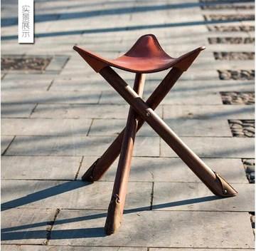 ZHANGFL Trois Leg Bois Artiste Pliant Tabouret Portable W/Selle Salon Siège en Cuir Meubles Tabouret trépied en Bois for l'extérieur/intérieur