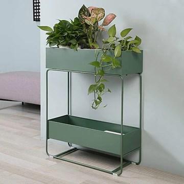 LFOZ Support À Plantes pour Plantes en Métal À 2 Niveaux, Intérieur/Extérieur, avec Porte-bac Design Garden & Home (Color : Dark Green)