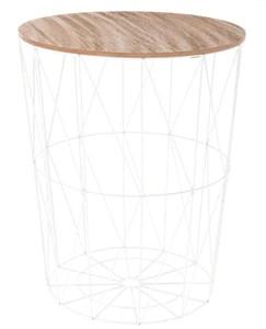 PEGANE Table d'appoint Design en MDF et Acier, Blanc - Dim : D.47 x H. 57 cm