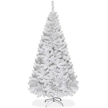 COSTWAY Sapin de Noël Arbre de Noël Artificiel pour Décoration de Noël Matériau PVC avec Pied en Métal 150cm-240cm Blanc (1.5M)