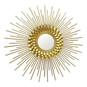 Miroir décoratif rond,Lunettes de soleil décorations murales décorations restaurant lumière luxe miroir mural en métal décoratif miroir mural pour porche de restaurant de l'hôtel familial, 2 styles, 6