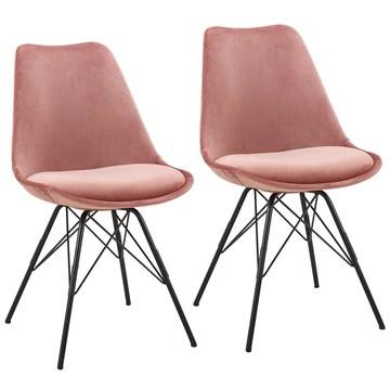 Duhome Chaise Salle à Manger Lot de 2 en Tissu Velours Rose sélection de Couleur Design Retro Chaise scandinave avec Pieds en métal 518MJ