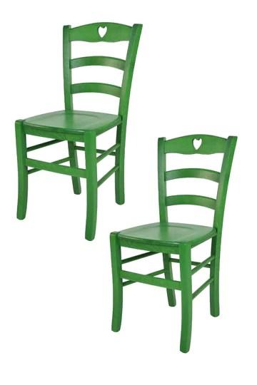Tommychairs - Set 2 Chaises Cuore pour la Cuisine, Bar et la Salle à Manger, Structure en Bois et Assise en Bois Coleur Aniline Verte