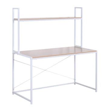 WOLTU TSB09hei Bureau d'ordinateur table de bureau à domicile station de travail en bois et acier,environ 120x60x140cm,Chêne clair+Blanc