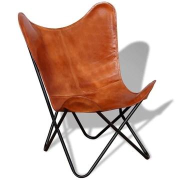 vidaXL Chaise Papillon Cuir véritable Mobilier de Salon Chaise de Bureau Marron