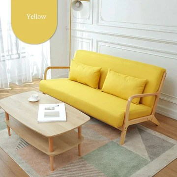 Ryyland-Home Canapé Tissu Souple en Bois Moderne canapé for Bureau Salon 5 Couleurs Loisirs Fauteuil (Color : Yellow, Size : 161x78x75cm)