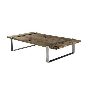MACABANE Table Basse Bois Massif cerclée métal, 169x94x16