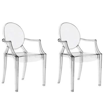 Ghost Lot de 2 Dinning & Living Chaise Fauteuil Transparente Rétro Inspiré Louis