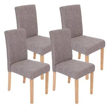 Mendler Lot de 4 chaises de séjour Littau, Tissu Gris, Pieds clairs
