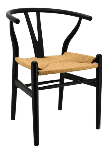 JARDIN DECO Chaise en Bouleau laqué Noir et Papier cordé