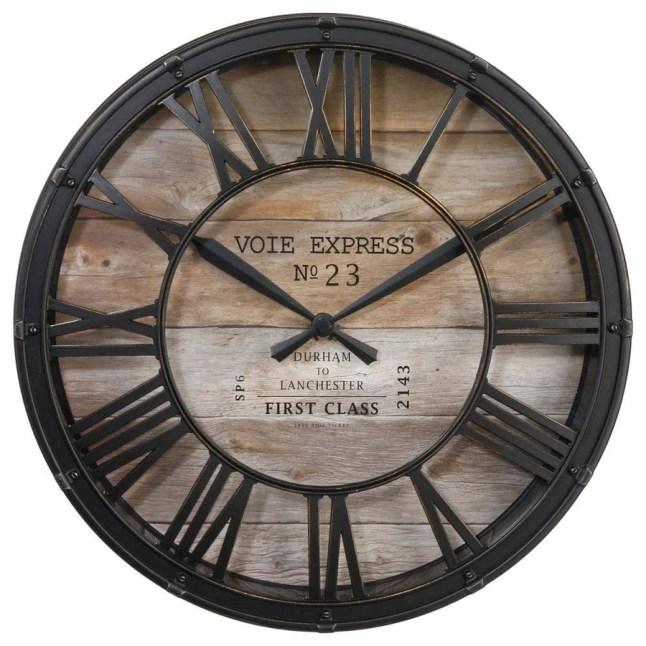 Horloge pendule murale style vintage - diamètre 39 cm - Coloris marron cuivré effet vieilli