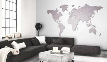 murando - Argente - Carte du Monde 200x105cm - Tableaux en liege 100% autocollant - Tableau a craie - Peint a la main - A coller directement sur le mur - Liege - Moderne k-A-0111-u-a