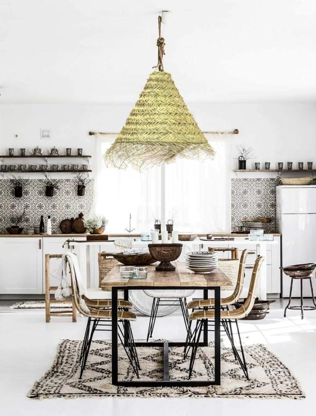 Grande suspension luminaire en fibre de palmier tressée avec franges, Alfa, abat jour marocain, tendance nature, suspension rotin et osier