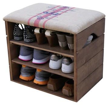 Liza Line Meuble Chaussures (Marron Noyer), Banc de Rangement pour Chaussures avec ÉTAGÈRES. Assise Confortable en Tissu. Bois Massif Scandinave - 51 x 45 x 36 cm (Lignes Rouges)