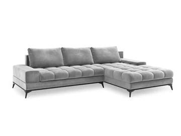 Windsor Canapé d'angle Droit Velours Convertible avec Coffre De Rangement, Deneb, 5 Places, Gris Clair, 315x212x87