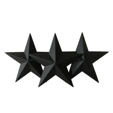 CVHOMEDECO. Country rustique antique vintage cadeaux en métal Noir Barn étoile par Cvhomedeco. mural/de porte Décor, 30,5 cm, Lot de 3.