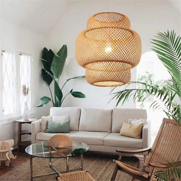 RDYL Manuel Moderne Tissage créatif Bambou Lampe Pendentif en Bambou/rotin Tissage Suspension Lampes E27 lanternes lustres Salon Hôtel Restaurant Transition lumière pendante,50cm