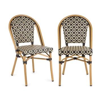 Blumfeldt Montbazin BL - Chaise de Jardin, Nettoyage Facile, Cadre en Aluminium, Résistante aux intempéries, Empilable, Peu encombrante, Assise spacieuse, Lot de 2, Beige