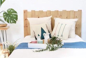 Hannun - Tête de lit Dakari/tête de lit 180/tête de lit en Bois Massif Faite à la Main et Artisanale, Couleur Olive 190x100 cm