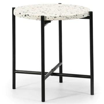 VS Venta-stock Table auxiliaire Table Basse Ronde Hanoi avec Plateau en terrazo Blanc et Pieds métalliques en Boir Mat/DIAMÈTRE: 41cm.